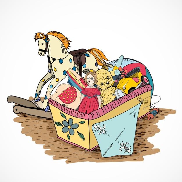Caixa de desenho de brinquedos Vetor grátis