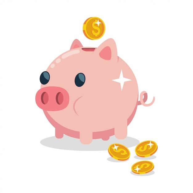 Caixa de dinheiro sob a forma de um porco Vetor Premium
