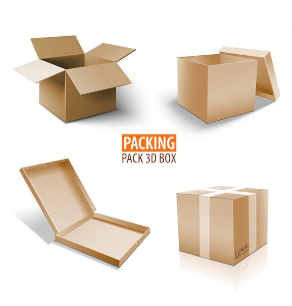 Caixa de embalagem caixa 3d. conjunto de entrega marrom de pacotes de tamanhos diferentes. Vetor Premium