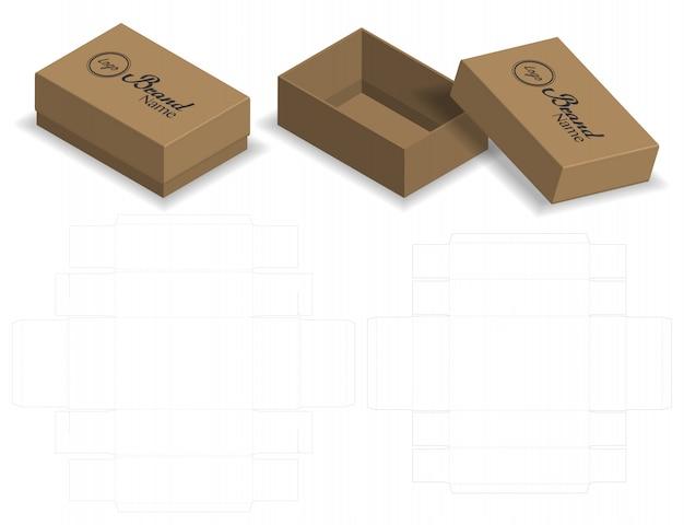 Caixa de embalagem cortada com 3d mock up Vetor Premium