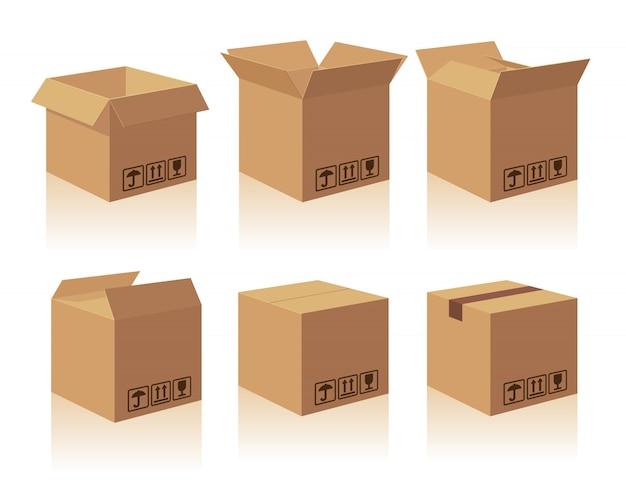 Caixa de embalagem de entrega de caixa marrom reciclada aberta e fechada com sinais frágeis. caixa de coleção ilustração isolada com sombra no fundo branco para web, ícone, banner, infográfico Vetor Premium