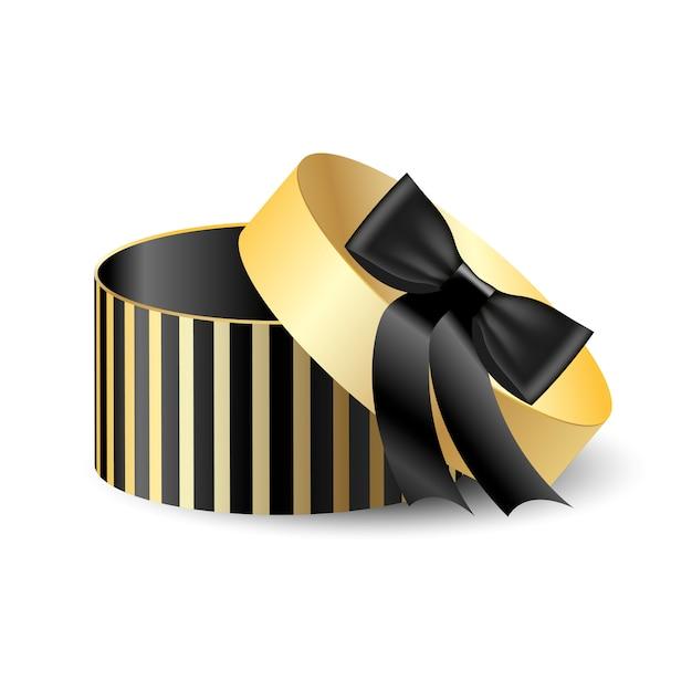 Caixa de embalagem redonda 3d preta com ouro Vetor Premium