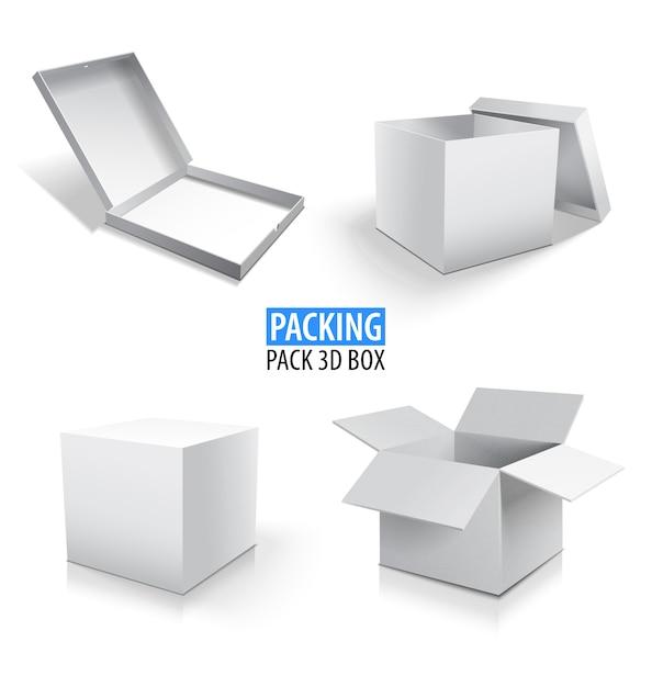 Caixa de empacotamento caixa branca 3d. conjunto de caixas de papelão fechadas e abertas em branco. Vetor Premium