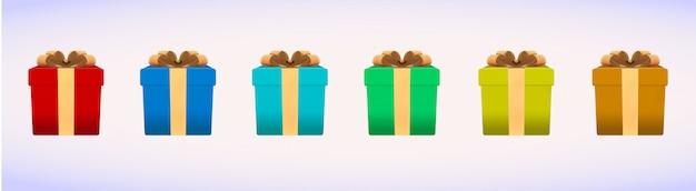 Caixa de férias de natal realista Vetor Premium