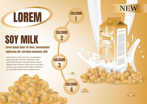 Caixa de leite amarela com leite espirrando Vetor Premium