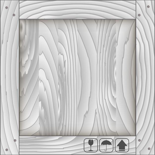 Caixa de madeira frontal e símbolo frágil Vetor Premium