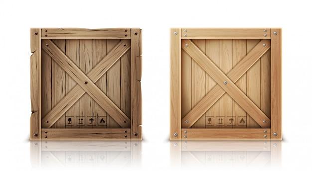 Caixa de madeira nova e envelhecida realista Vetor grátis