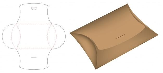Caixa de pacote de travesseiro die-cut modelo mockup 3d Vetor Premium
