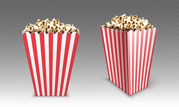 Caixa de papel listrado com pipoca isolada no fundo branco. simulação realista de balde branco e vermelho com pipocas para cinema ou cinema frente e vista de ângulo Vetor grátis