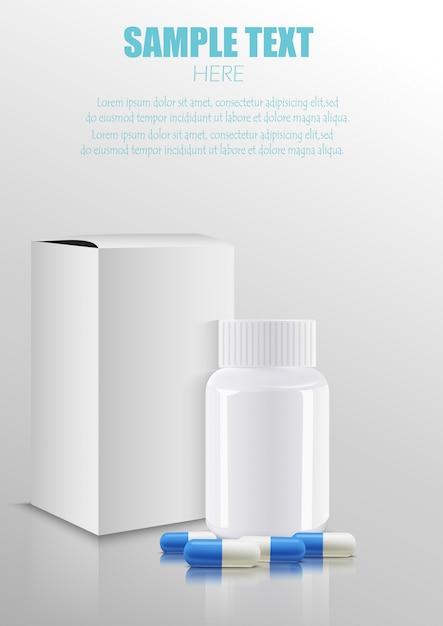 Caixa de papel pacote de embalagens médicas medicina em branco com garrafa de plástico e pílulas Vetor Premium
