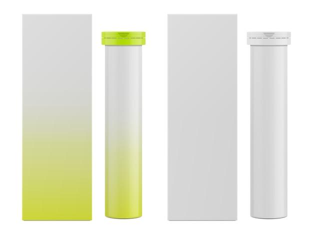 Caixa de papel retangular em branco e embalagem para vitaminas Vetor Premium