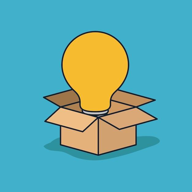 Caixa de papelão aberta com grande lâmpada Vetor Premium