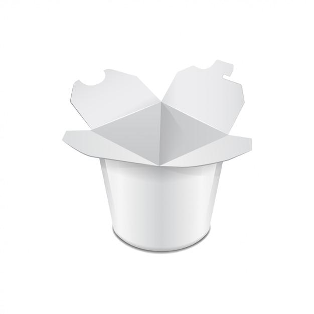 Caixa de papelão banheira de alimentos. comida asiática. frigideira chinesa, udon, arroz, kimchi, soba, cristal, macarrão de vidro. modelo Vetor Premium