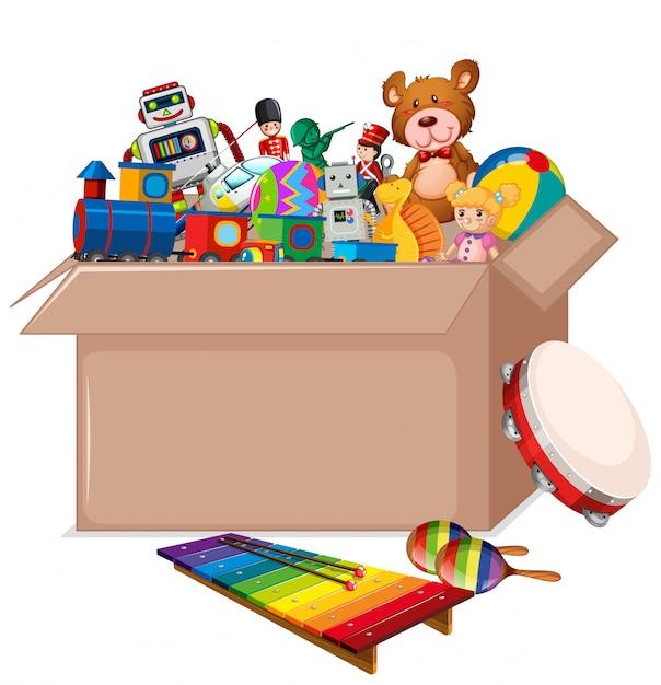 Caixa de papelão cheia de brinquedos em branco Vetor grátis