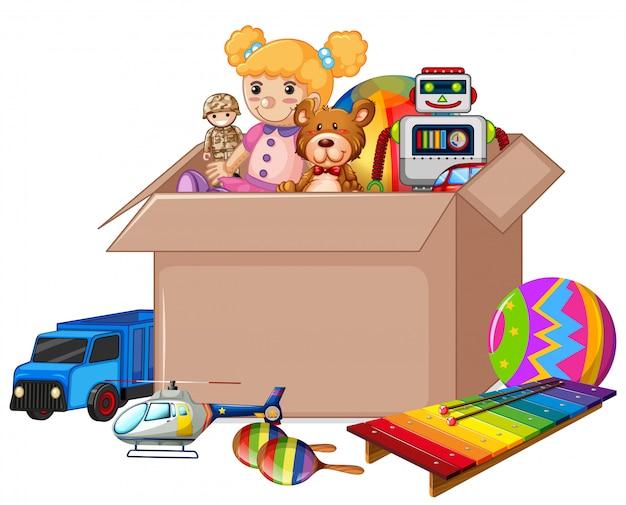 Caixa de papelão cheia de brinquedos Vetor grátis