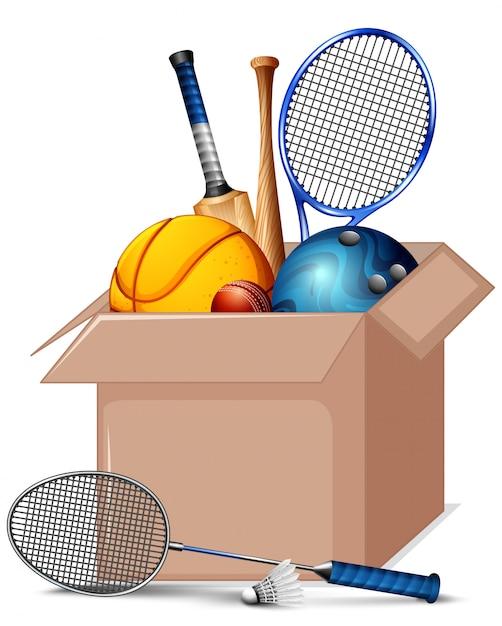 Caixa de papelão cheia de equipamentos de esporte isolados Vetor grátis