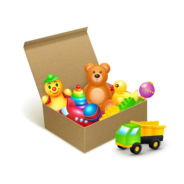 Caixa de papelão com brinquedos baixar vetores premium