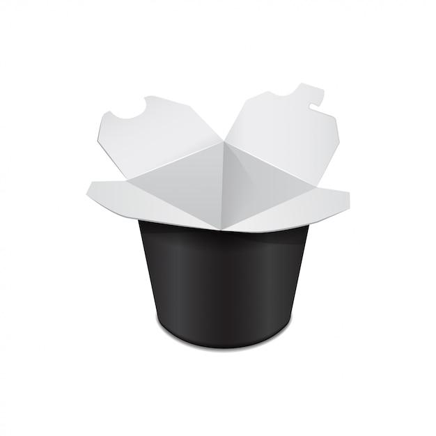 Caixa de papelão preto banheira de alimentos. comida asiática. frigideira chinesa, udon, arroz, kimchi, soba, cristal, macarrão de vidro. modelo Vetor Premium