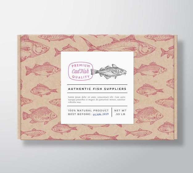Caixa de papelão realista padrão de peixe com banner Vetor grátis