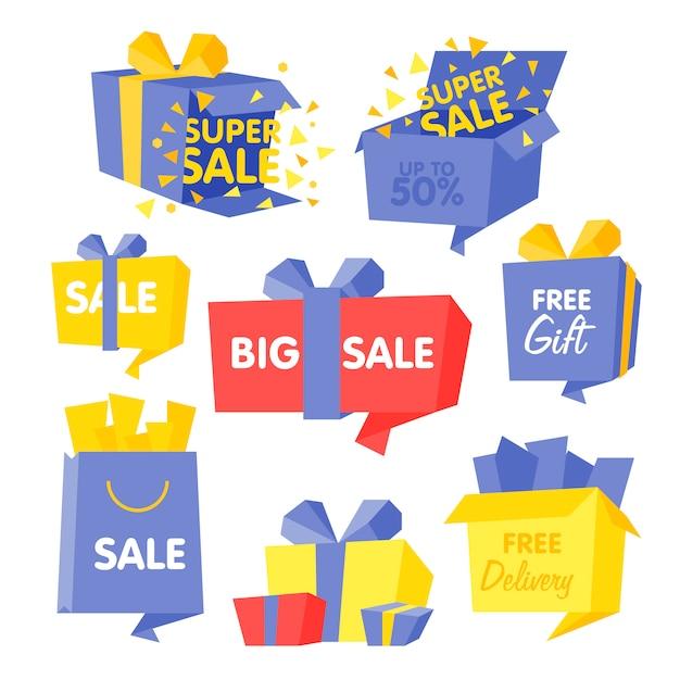 Caixa de preço e venda conjunto de ilustrações Vetor Premium