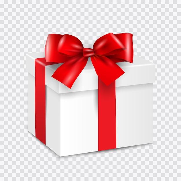 Caixa de presente branca com fita vermelha isolada em transparente Vetor Premium