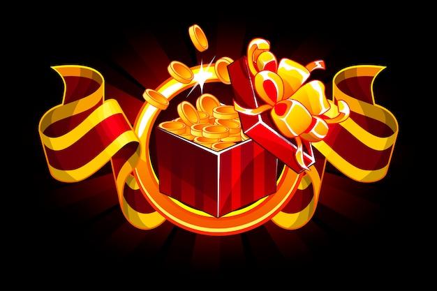 Caixa de presente com fita moeda e prêmio. desenhos animados isométrica presentes bônus ícones para recursos de jogos de interface do usuário. Vetor Premium