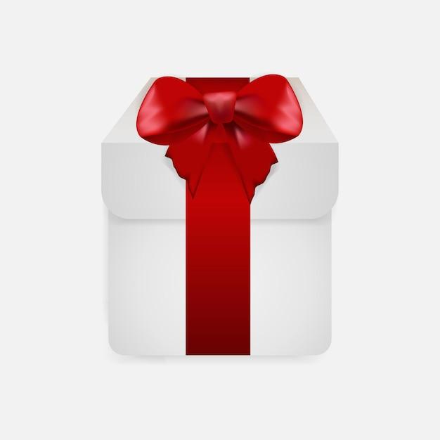 Caixa de presente com fita vermelha isolada em fundo transparente. Vetor Premium