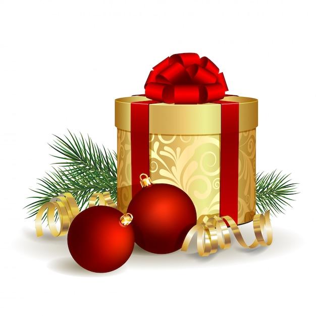 Caixa de presente com laço de fita vermelha e bola de natal Vetor Premium