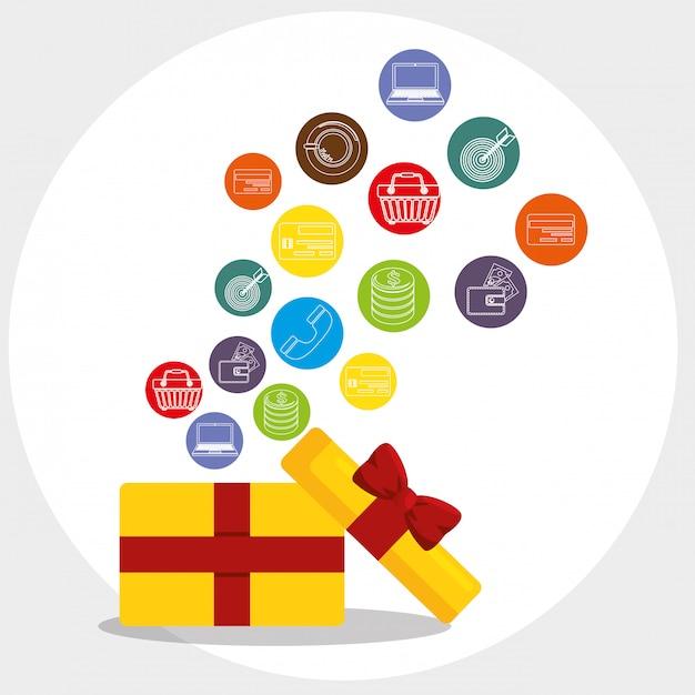 Caixa de presente com marketing conjunto de ícones Vetor grátis
