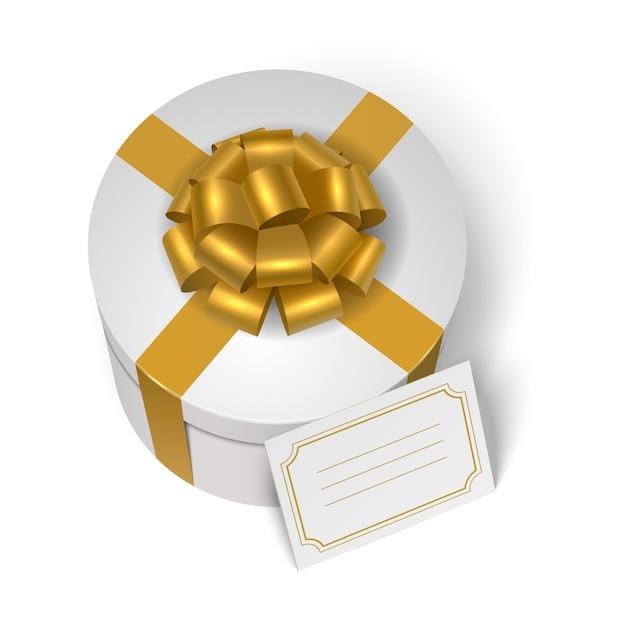 Caixa de presente de casamento com fita amarela e arco Vetor grátis
