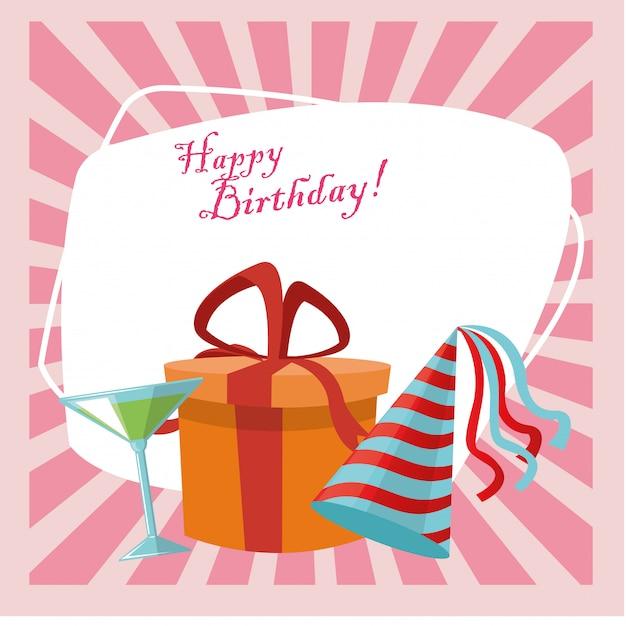 Caixa de presente e chapéu de festa de comemoração feliz aniversário Vetor Premium