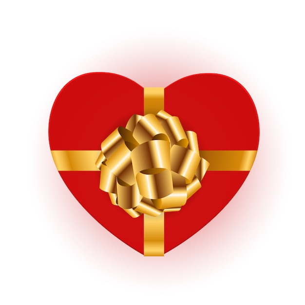 Caixa de presente em forma de coração com laço Vetor Premium