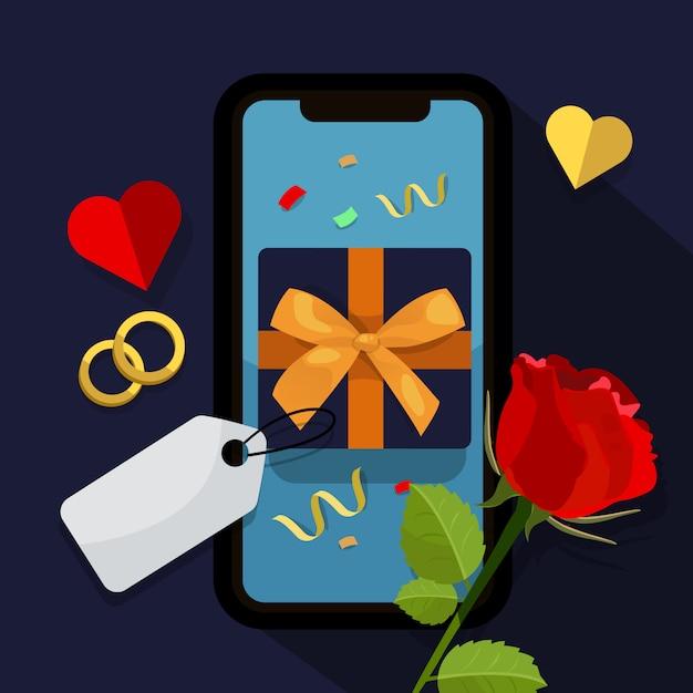 Caixa de presente no telefone móvel Vetor Premium