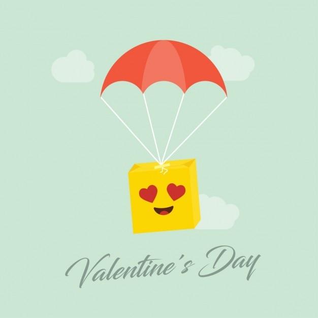 Caixa de presente smiley dia dos namorados com guarda-chuva Vetor grátis