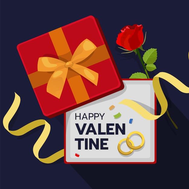 Caixa de presente vermelha aberta com rosa e anel de casamento dentro Vetor Premium