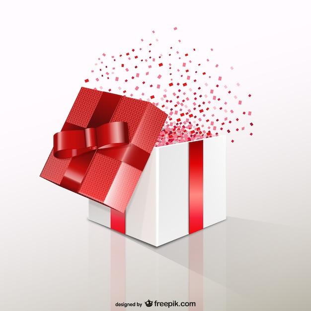 Caixa de presente vermelha com confetti Vetor grátis