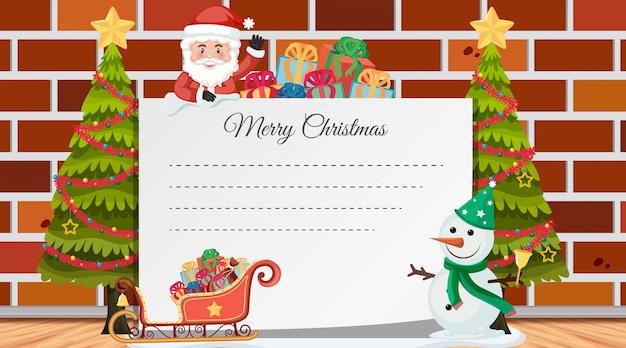 Caixa de texto de natal com enfeites Vetor Premium