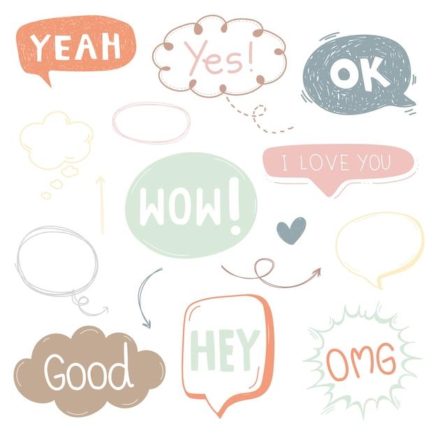 Caixa de texto dos desenhos animados bonito bolha e falar ícone para o projeto. Vetor Premium