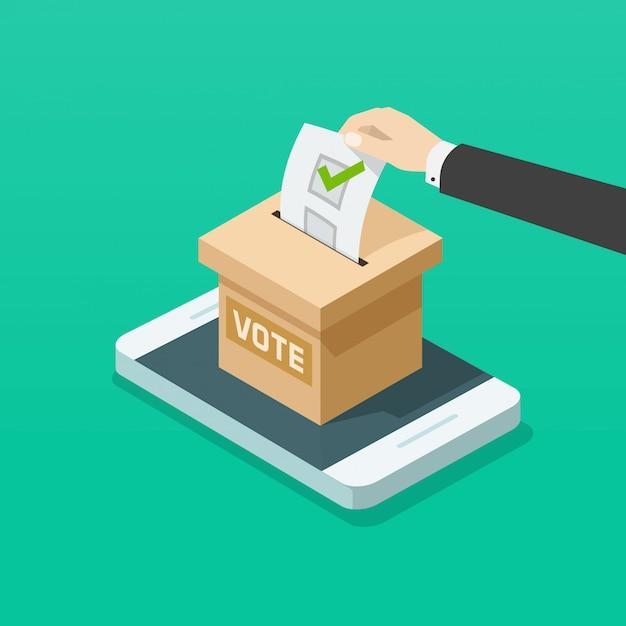 Caixa de votação com a mão do eleitor online no telefone móvel plano isométrico Vetor Premium