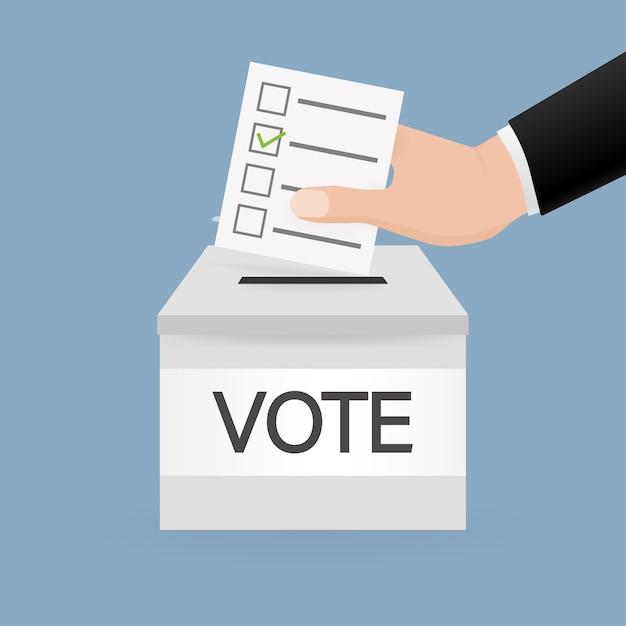 Caixa de votação, excelente para qualquer finalidade. mão de voto. mínimo. ilustração. Vetor Premium