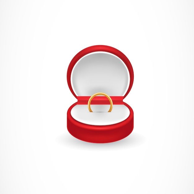 Caixa do anel de noivado Vetor grátis