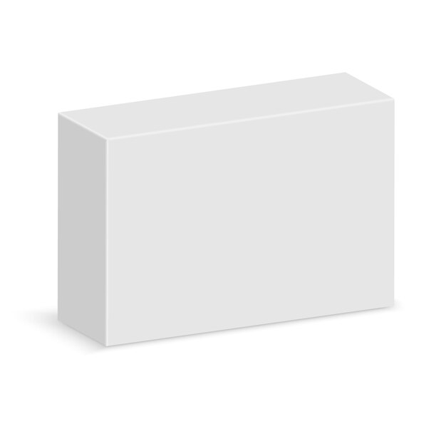 Caixa em branco branco realista Vetor Premium