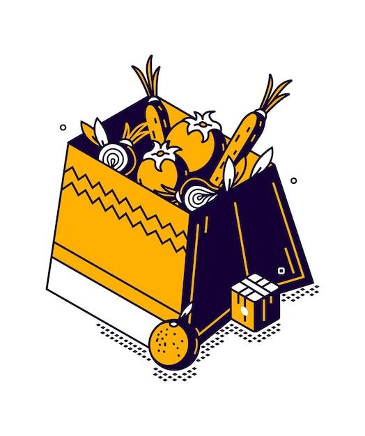 Caixa isométrica com vegetais e frutas, armazenamento de alimentos em uma loja ou mercado, ilustração Vetor grátis