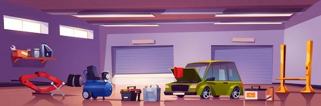 Caixa mecânica de serviço de reparo de automóveis com automóvel Vetor grátis