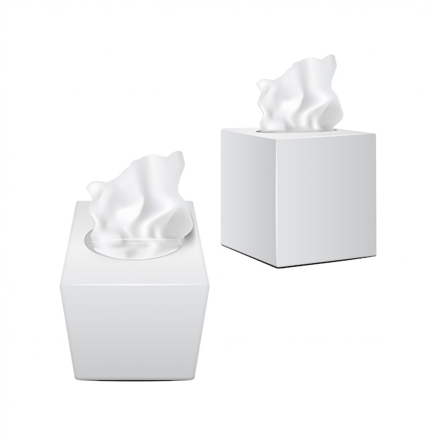 Caixa quadrada com guardanapos de papel. embalagem realista branca Vetor Premium