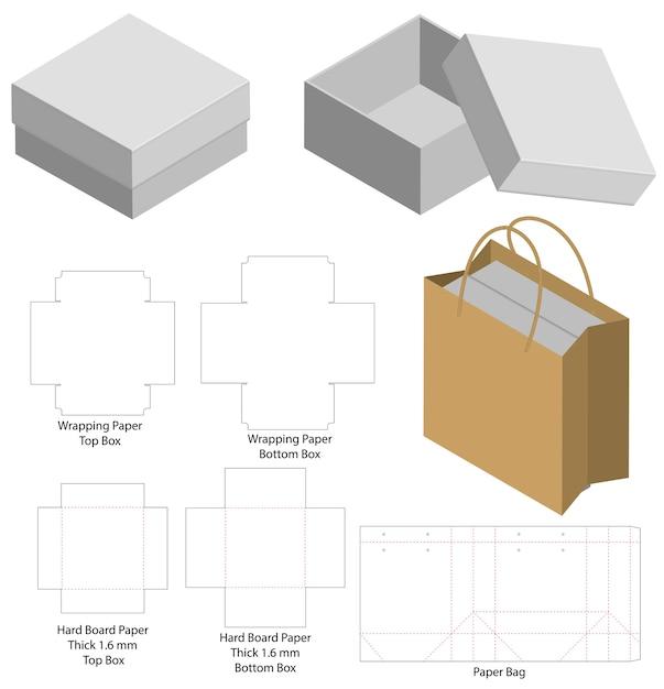 Caixa rígida e saco de papel conjunto mockup com dieline Vetor Premium