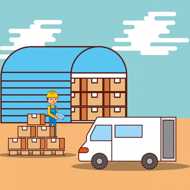 Caixas de armazém logístico de homem e transporte de caminhão van Vetor grátis