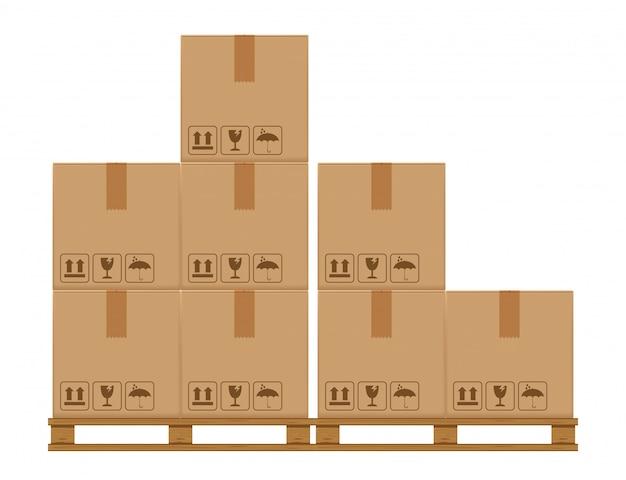 Caixas de caixa em paletes arborizadas, caixa de papelão no armazenamento do armazém de fábrica Vetor Premium