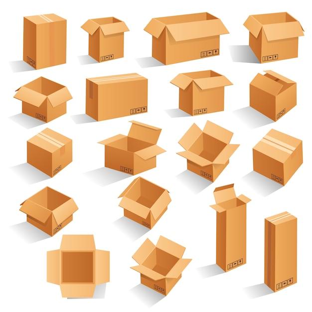 Caixas de embalagem de papelão marrom. Vetor Premium