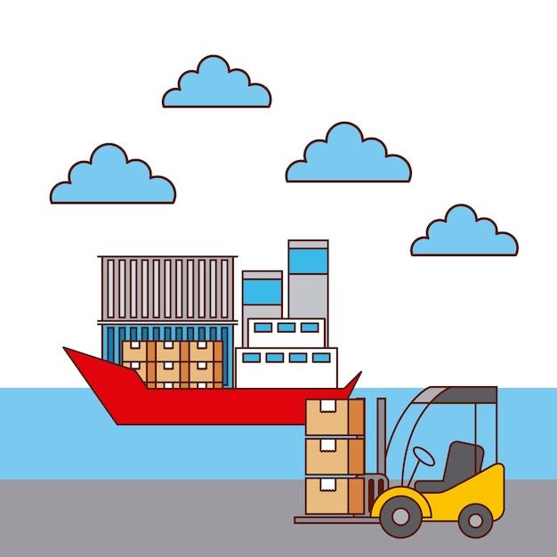 Caixas de empilhadeira e transporte de contentores para barcos Vetor Premium